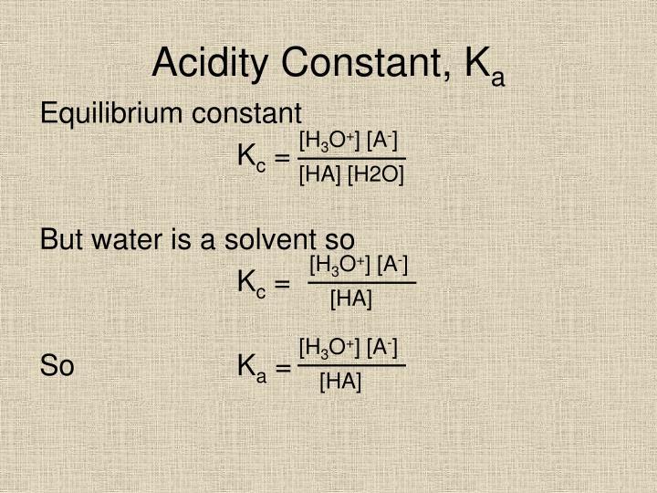 Acidity Constant, K