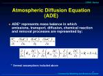 atmospheric diffusion equation ade