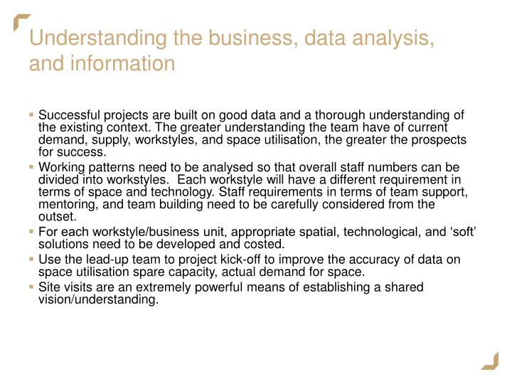Understanding the business, data analysis, and information