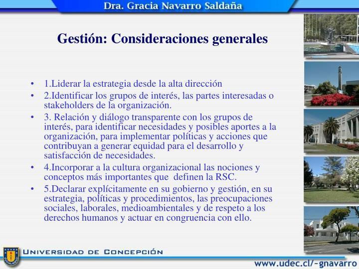 Gestión: Consideraciones generales