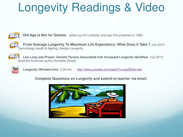Longevity Readings & Video