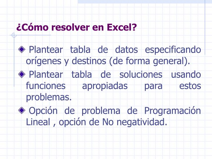 ¿Cómo resolver en Excel?