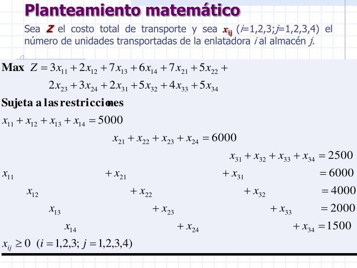 Planteamiento matemático