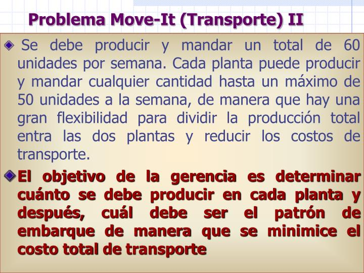 Problema Move-It (Transporte) II