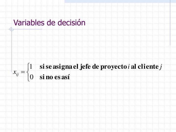 Variables de decisión