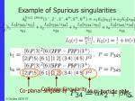 example of spurious singularities