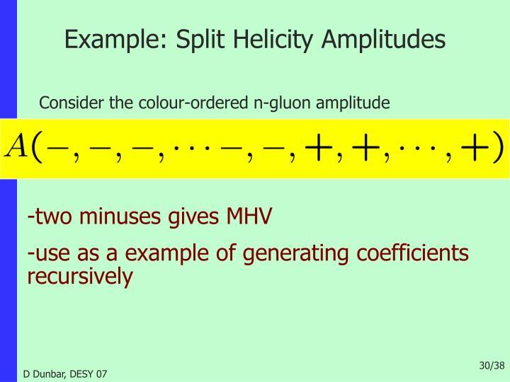 Example: Split Helicity Amplitudes