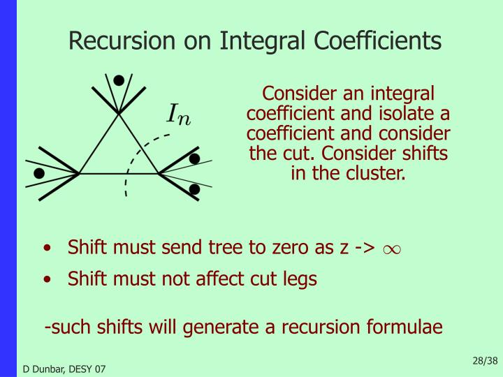 Recursion on Integral Coefficients