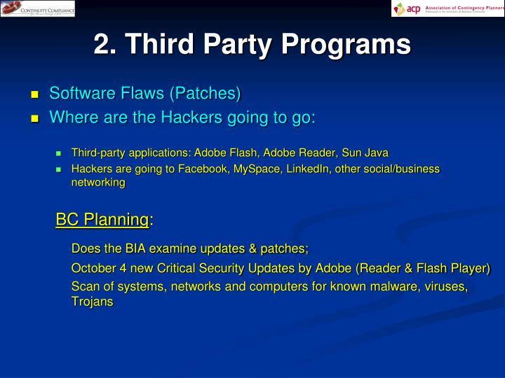 2. Third Party Programs