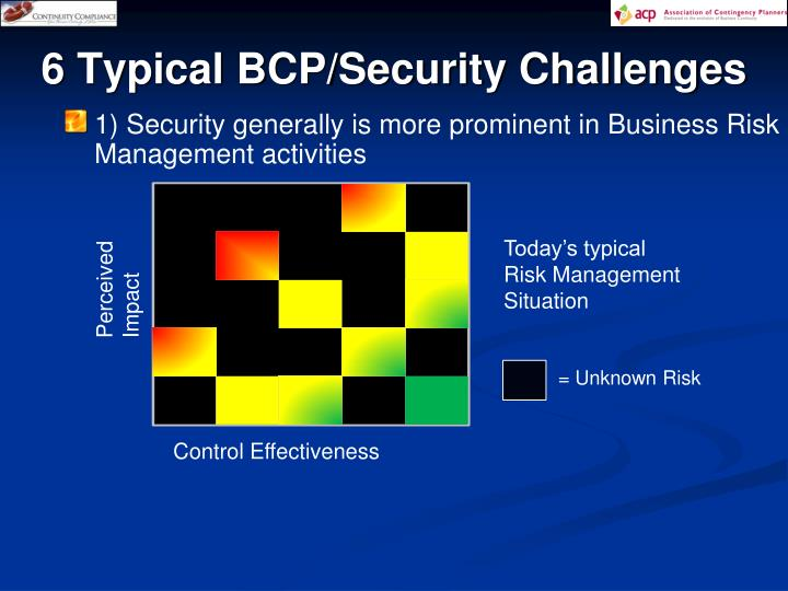 6 Typical BCP/Security Challenges