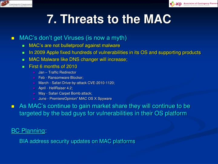 7. Threats to the MAC