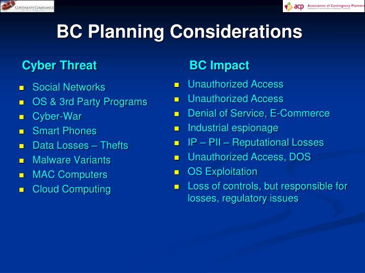 BC Planning Considerations
