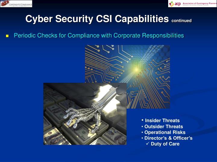 Cyber Security CSI Capabilities