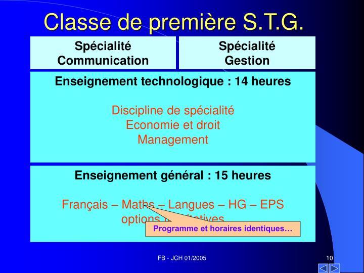 Classe de première S.T.G.