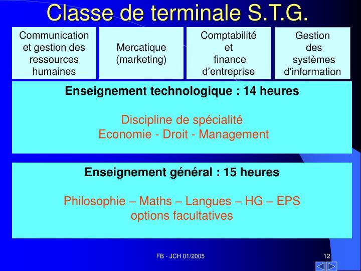 Classe de terminale S.T.G.