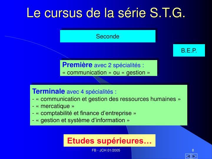Le cursus de la série S.T.G.