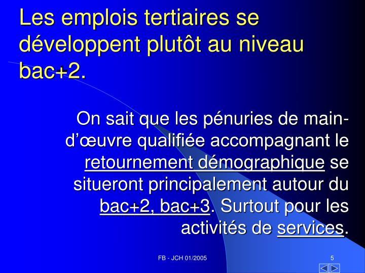Les emplois tertiaires se développent plutôt au niveau bac+2.