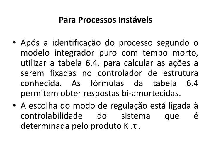 Para Processos Instáveis