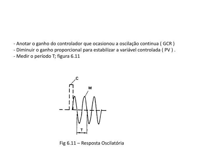 - Anotar o ganho do controlador que ocasionou a oscilação continua ( GCR )