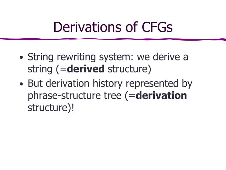 Derivations of CFGs