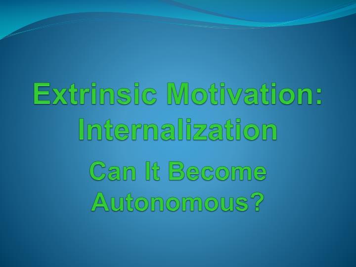 Extrinsic Motivation: Internalization