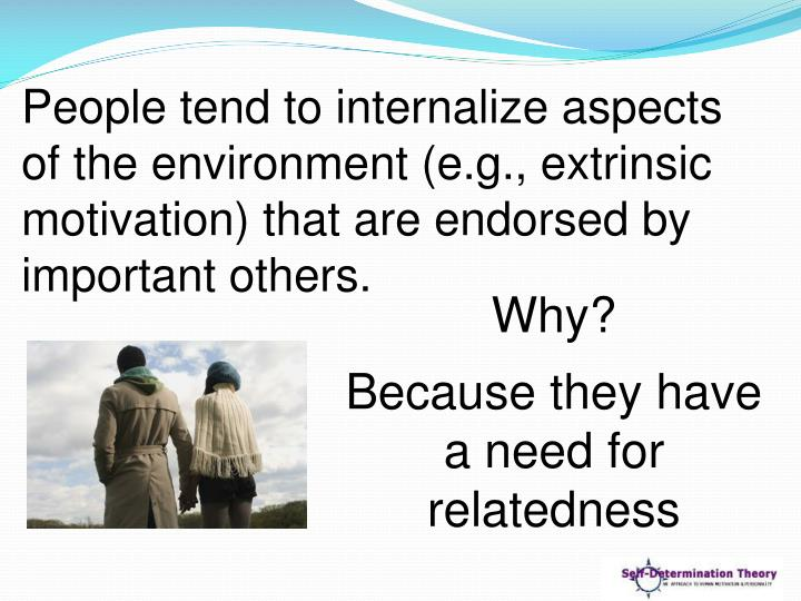 People tend to internalize aspects of the environment (e.g., extrinsic motivation) that are endorsed by important others.