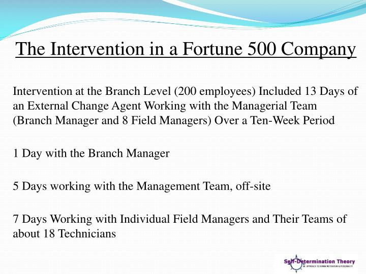 The Intervention in a Fortune 500 Company