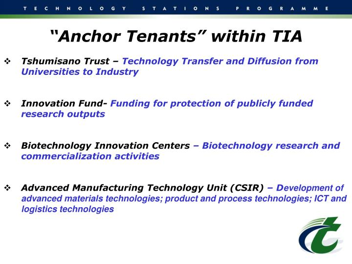 """Anchor Tenants"" within TIA"