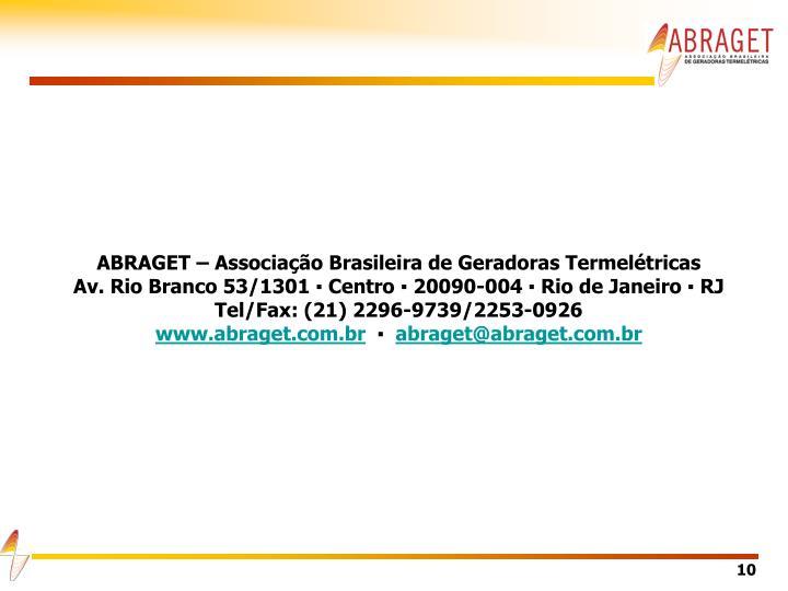 ABRAGET – Associação Brasileira de Geradoras Termelétricas