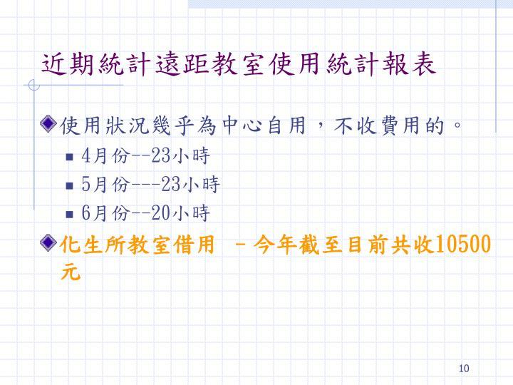 近期統計遠距教室使用統計報表
