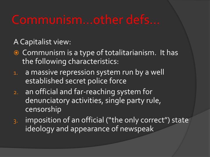 Communism...other defs...
