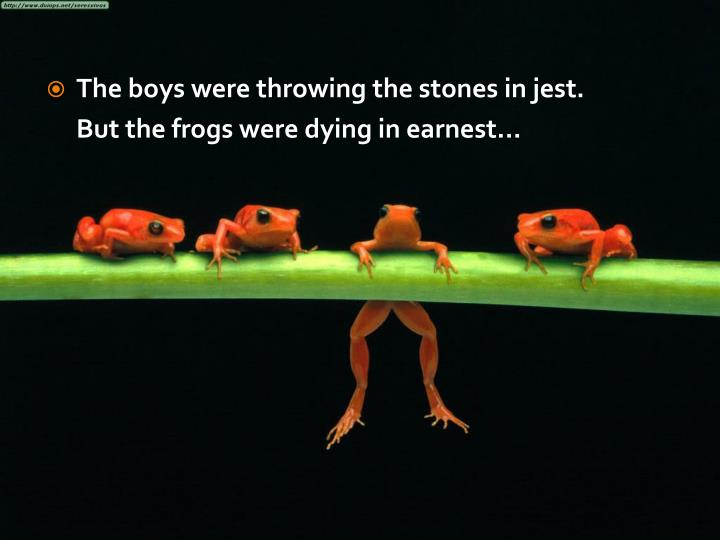 The boys were throwing the stones in jest.