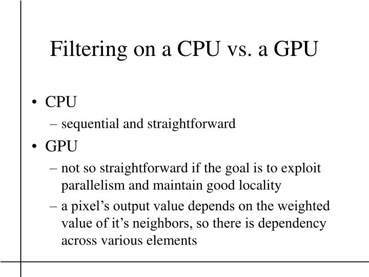 Filtering on a CPU vs. a GPU