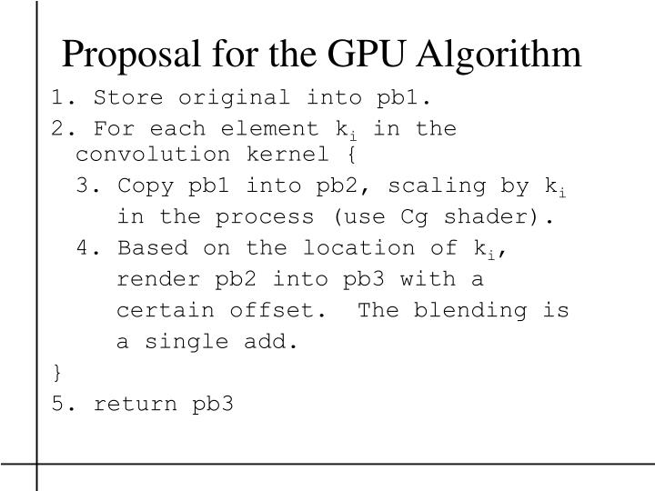 Proposal for the GPU Algorithm
