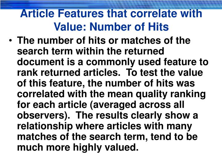 Article Features that correlate with Value: Number of Hits
