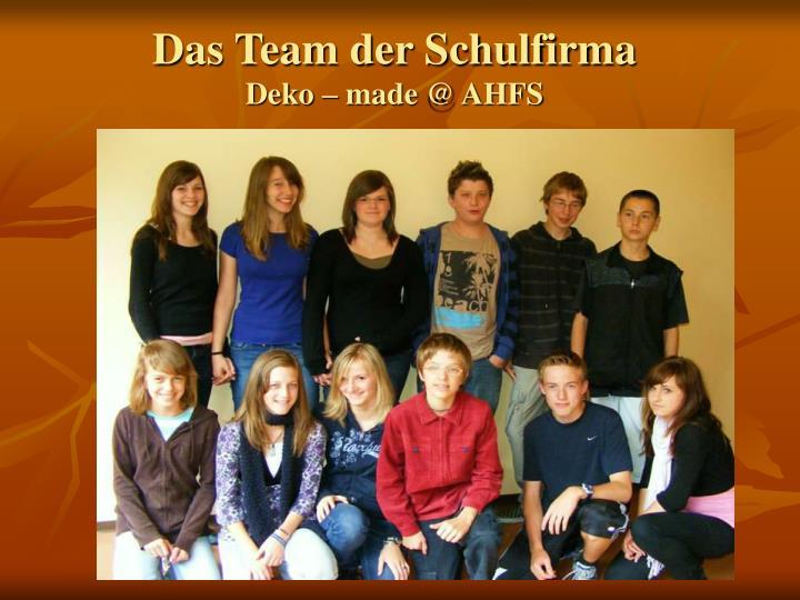 Das Team der Schulfirma