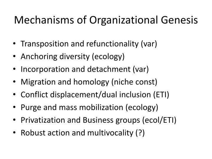 Mechanisms of Organizational Genesis