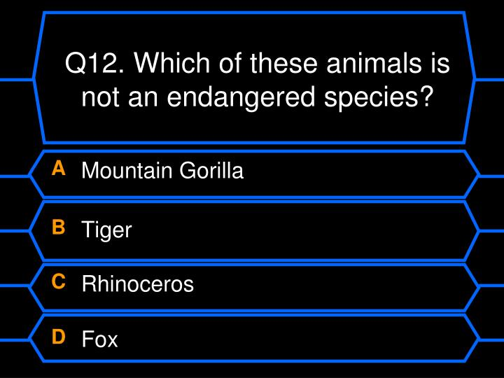 Q12. Which of these animals is not an endangered species?