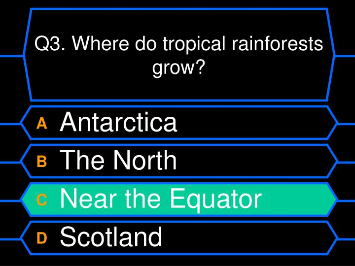 Q3. Where do tropical rainforests grow?
