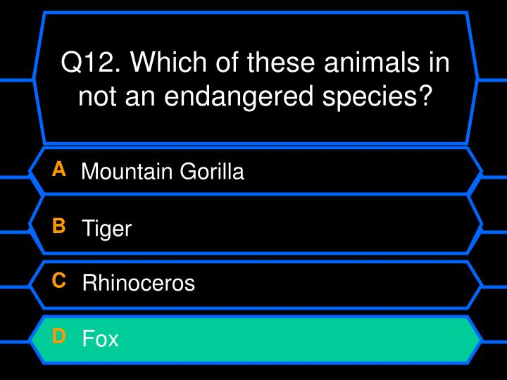Q12. Which of these animals in not an endangered species?