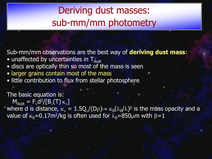 Deriving dust masses: