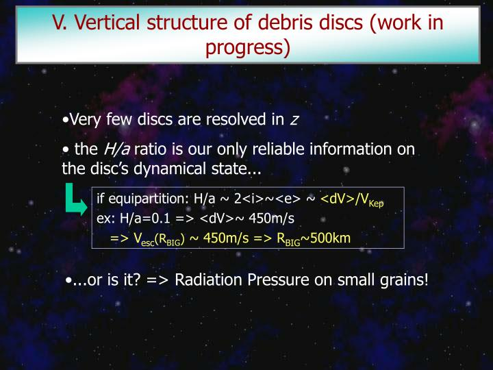 V. Vertical structure of debris discs (work in progress)