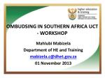 ombudsing in southern africa uct workshop