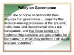 policy on governance