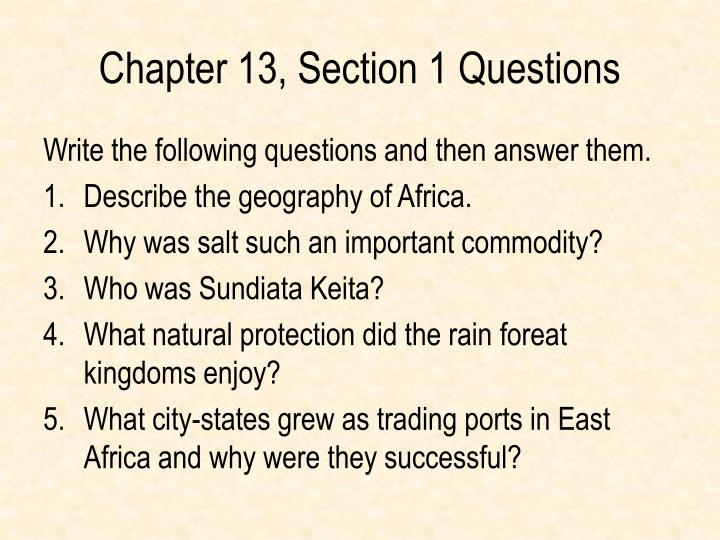 Chapter 13, Section 1 Questions