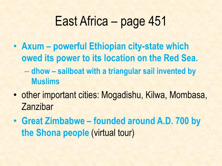 East Africa – page 451