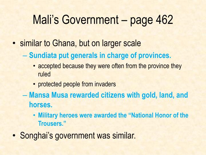 Mali's Government – page 462