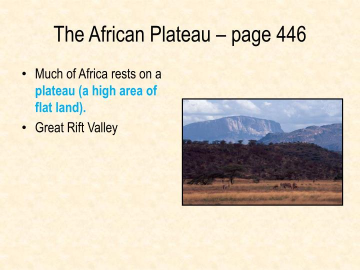 The African Plateau – page 446