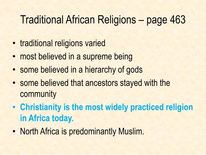 Traditional African Religions – page 463