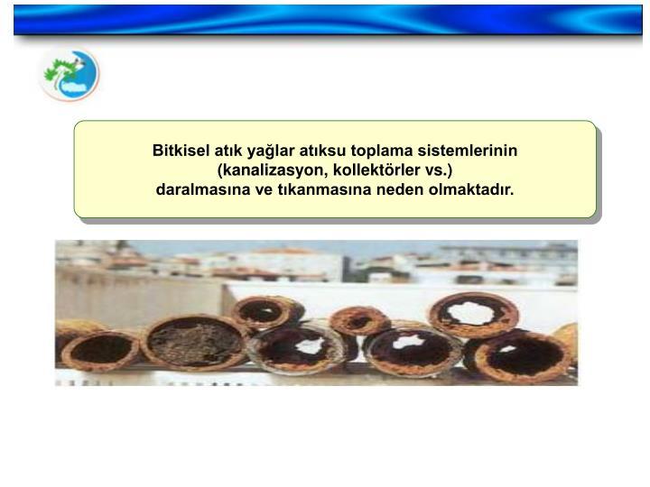 Bitkisel atık yağlar atıksu toplama sistemlerinin